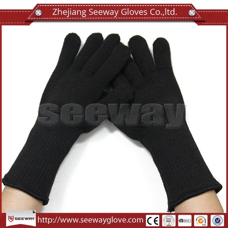Seeway 10 Gauge Double Layer Black Aramid With Five Fingers Oven Heat Resistant Gloves